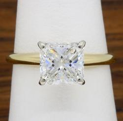 14K Yellow Gold 1.20CT Princess Cut Solitaire