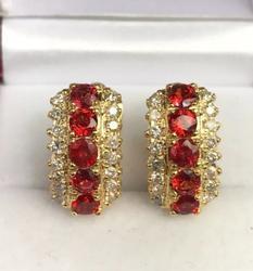 Beautiful Sapphire & Diamond 14kt Gold Earrings