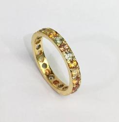 Stunning 14kt Gold Multi Colored Sapphire Eternity Band