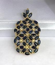 14kt Gold Blue Sapphire Pendant, 4.5 Carats!