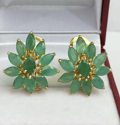 4 Carat Emerald Earrings in 14kt Solid Gold