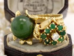 Vintage 14kt Emerald, Diamond & Jade Ring