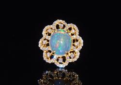 18kt Gold Opal & Diamond Cocktail Ring