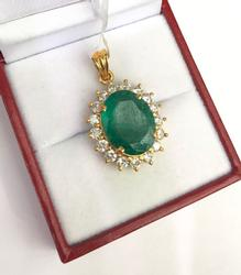 Huge 7+ Carat Emerald & Diamond Pendant in 18kt