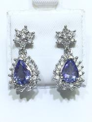 Fancy 14kt Gold Tanzanite & Diamond Earrings