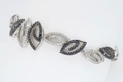 14K White Gold Black and White Diamond Bracelet