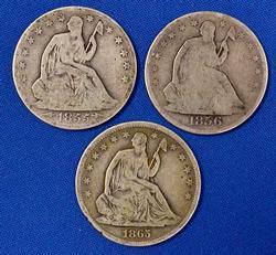 3 Seated Halves raw.1855 Arrows 1856 0 &1865 S