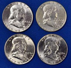 2 1959 and 2 1963 Uncirculated Franklin Halves