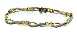 Very Graceful Two Tone Swirl Bracelet with Diamonds