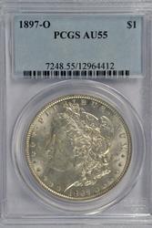 Rare nearly BU 1897-O Morgan Silver Dollar. PCGS AU55