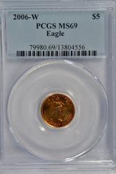 Perfect Gem BU 2006-W $5 Gold Eagle. PCGS MS70