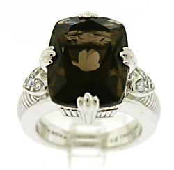 Judith Ripka Smokey quartz and CZ Ring