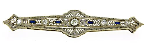 Wonderful Vintage Brooch with Diamonds and Sapphires
