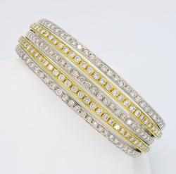 18K Two Tone Gold 5.00CTW Diamond Bangle