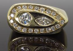 14K Yellow Gold Unique Mens Diamond Ring, 1.28ctw