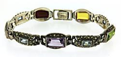 Marcasite and Multi Gemstone Sterling Silver Bracelet