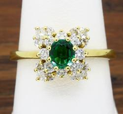 18K Yellow Gold Emerald and Diamond Cocktail Ring