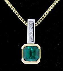 Superb Emerald & Diamond Pendant Necklace in 18K