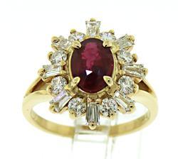 Very Attractive Ruby & VS Diamond Sunburst Ring