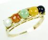 14K Multi-Colored Jade Ring