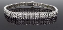 18K White Gold Bezel Set Tennis Bracelet, 3.00ctw