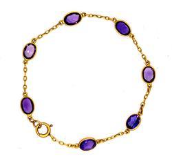 Amethyst Station Bracelet in Gold