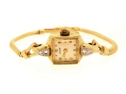 14K Gold Vintage Tissot Watch with Diamond Accents