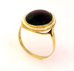Large Garnet & Pearl Ring, Size 8.5