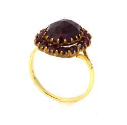 Elaborate Garnet Ring in Gold, Size 6.5