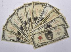 10 x 1963 Red Seal $5 Notes, Circ