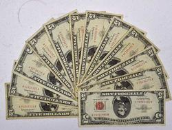 12 x 1963 Red Seal $5 Notes, Circ