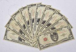 10 x 1963 Red Seal $5 Notes, Circ
