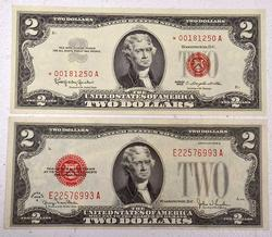 Red Seal $2 Not Lot, Choice 1928G, 1963*