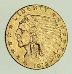 1912 $2.50 Indian Head Gold Quarter Eagle