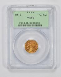 MS65 1915 $2.50 Indian Head Gold Quarter Eagle - PCGS Graded