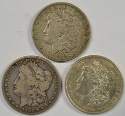 Trio of semi-key date Morgans: 1892-O, 1894-S, & 1902-P