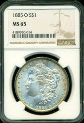 Frosty-white Gem BU 1885-O Morgan Dollar. NGC MS65