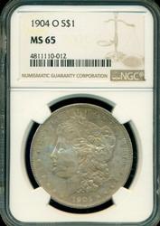 Colorful Gem BU 1904-O Morgan Silver Dollar. NGC MS65