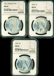 3 Diff. NGC MS64 graded US Silver Dollars 1921-1923