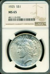 Superb Gem BU 1922 Peace Silver Dollar. NGC MS65