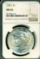 Snowy-white Gem BU 1923 Peace Silver Dollar. NGC MS65