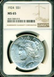 Super nice Gem BU 1924 Peace Silver Dollar. NGC MS65