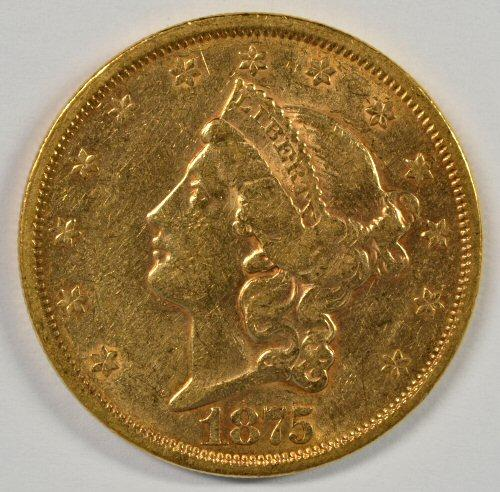 Attractive 1875-S Ty 2 $20 Liberty Gold Piece. Nice