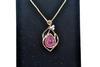 Sterling Silver Ruby & Diamond Pendant Necklace