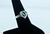 Heart Shape Aquamarine & Diamond Sterling Silver Ring