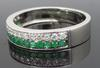 14K White Gold Emerald and Diamond Band