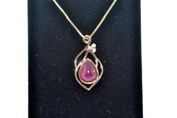 Sterling Silver Ruby & Diamond Pendant Necklace
