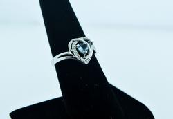 Heart Shape Aquamarine & Diamond Sterling Silver Ring