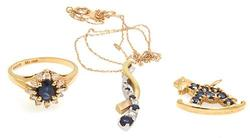 Fantastic 14kt Gold Diamond & Sapphire Jewelry Set
