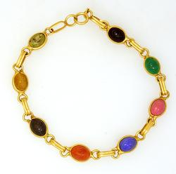 Multi-Gem Scarab Bracelet in Gold, 7.75in
